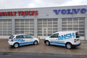 ANSH Fahrzeuge mit neuer Beschriftung